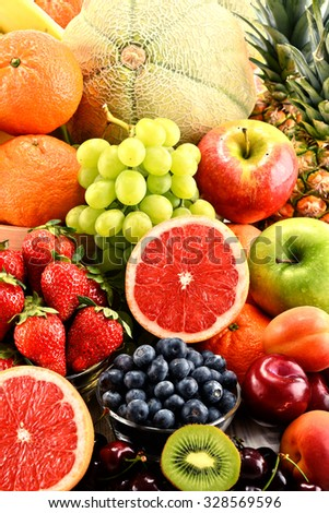 Composition with assorted fruits. - stock photo