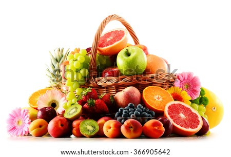 Composition with assorted fruits isolated on white background  - stock photo