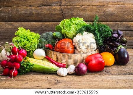 Composition with assorted raw organic vegetables - stock photo