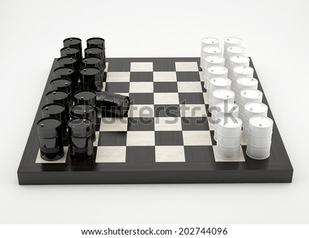 Composition with barrels on glossy chessboard - stock photo