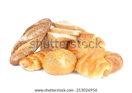 Composition with bread and rolls on white background. - stock photo