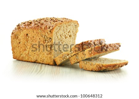 Composition with bread isolated on white - stock photo