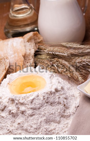 Composition with bread on the old background