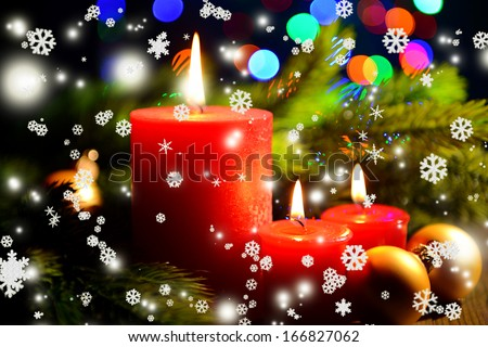 Composition with Burning candle, fir tree and Christmas decorations on multicolor lights background - stock photo