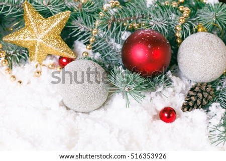 Composition with Christmas decorations fir tree on white background