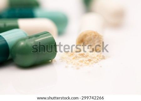 Composition with colorful pills and broken capsules