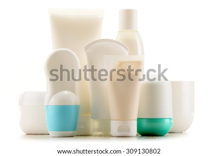 Composition with containers of body care and beauty products. Eco cosmetics. - stock photo