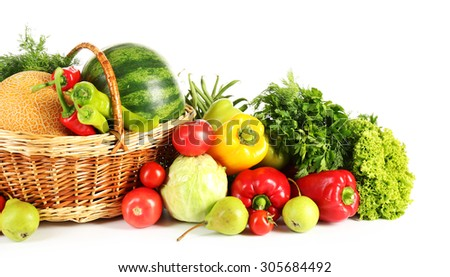 Composition with fresh fruits and vegetables isolated on white