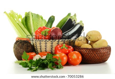 Composition with fresh raw vegetables isolated on white background - stock photo