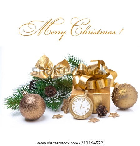 composition with gift box and decorations, isolated on white - stock photo