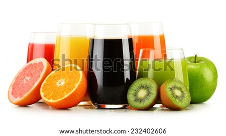 Composition with glasses of assorted fruit juices isolated on white. Detox diet - stock photo
