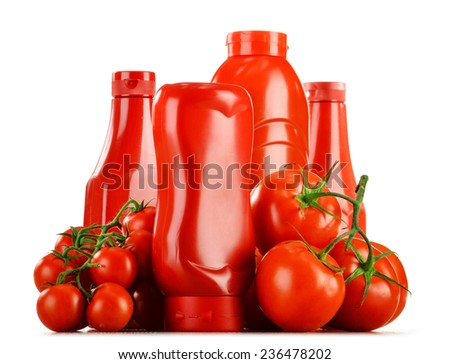 Composition with ketchup and fresh tomatoes. - stock photo