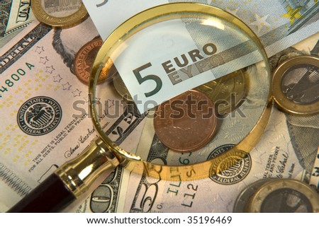 composition with money and miscellaneous accessories - stock photo