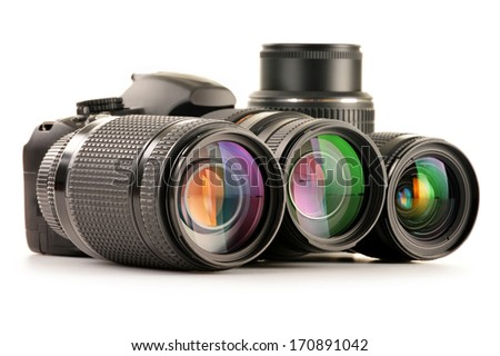 Composition with photo zoom lenses isolated on white background - stock photo