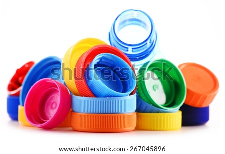 Composition with plastic bottles and caps. - stock photo