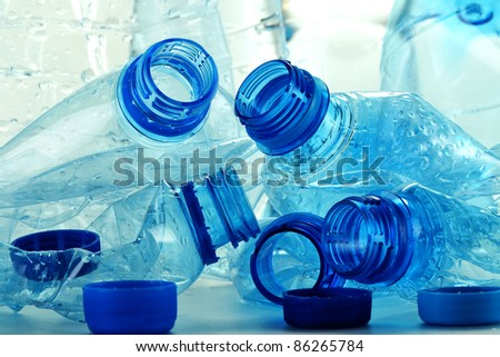 Composition with plastic bottles of mineral water. Plastic waste - stock photo