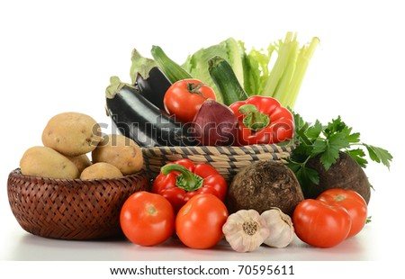 Composition with raw vegetables isolated on white background - stock photo