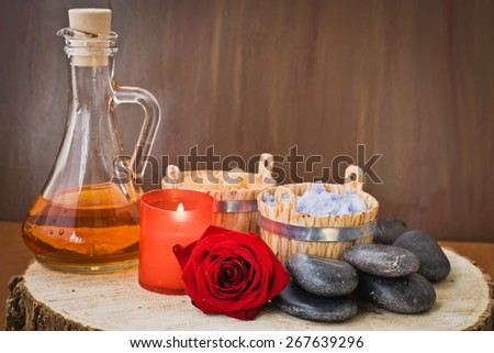 Composition with sea salt, stones, candles, herbal and flower - stock photo
