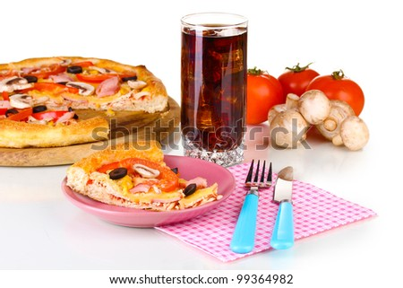 Composition with slice of pizza on plate close-up isolated on white