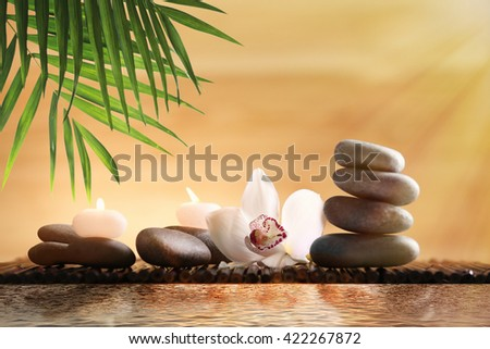 Composition with spa stones and flower on blurred background - stock photo