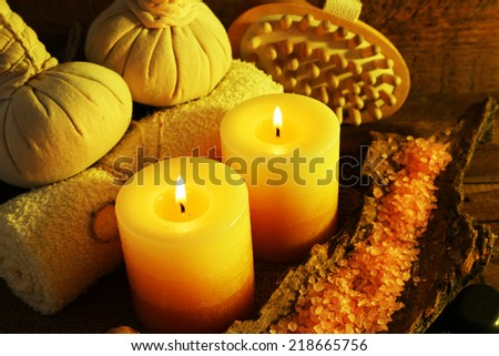 Composition with spa treatment on wooden background - stock photo