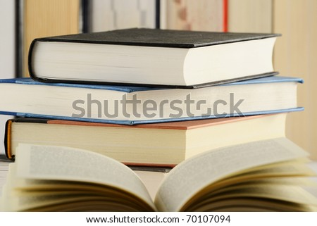 Composition with stack of books