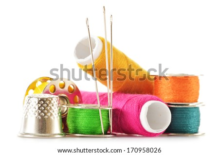 Composition with tailor needles and threads over white background - stock photo