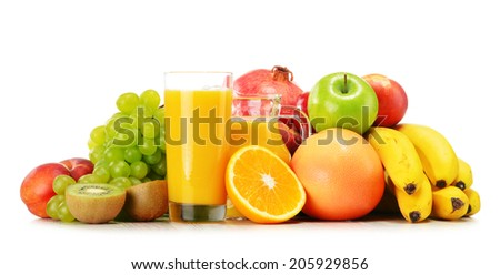 Composition with variety of fresh fruits. Balanced diet. - stock photo