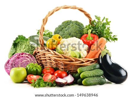 Composition with variety of fresh organic vegetables isolated on white - stock photo