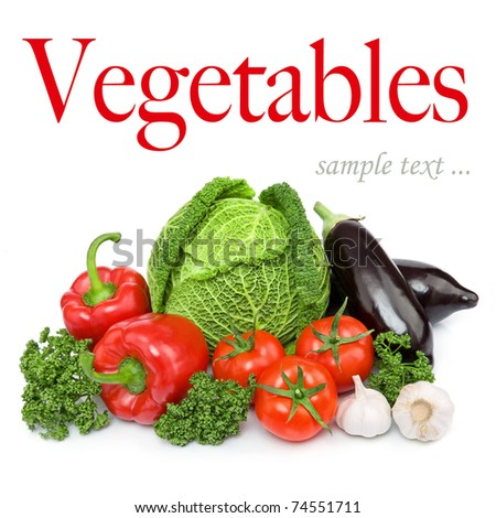 Composition with variety of fresh organic vegetables. Isolated over white background - stock photo