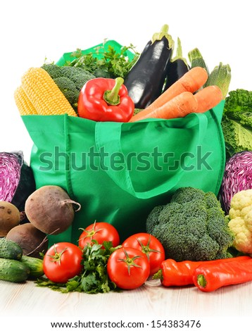 Composition with variety of fresh raw organic vegetables - stock photo