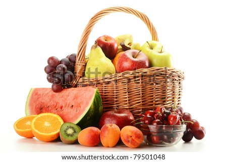 Composition with variety of fruits and wicker basket
