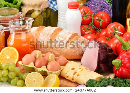 Composition with variety of grocery products. - stock photo