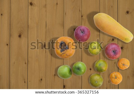 Composition with vegetables and fruits - stock photo