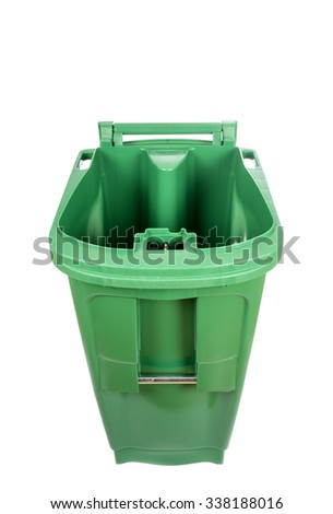 Compost and Recycle Green Bin Isolated on White - stock photo