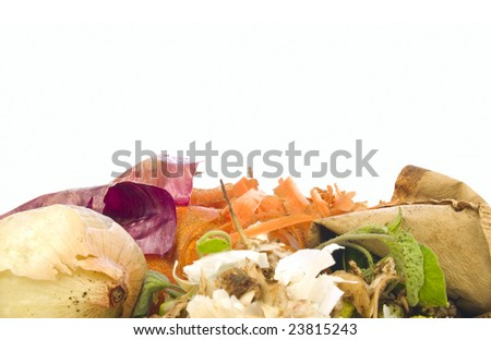 Compost heap for organic and biodynamic gardening isolated on white - stock photo