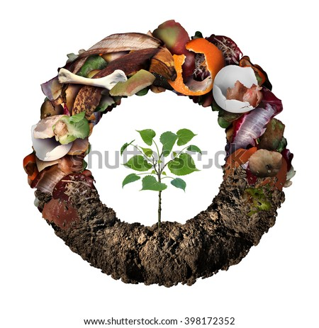Compost life cycle symbol and a composting stage system concept as a pile of rotting  fruits egg shells bones and vegetable food scraps shaped as circle with soil at the bottom and a sapling growing. - stock photo