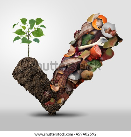 Compost symbol life cycle symbol and a composting stage concept as a pile of rotting fruits egg shells bones and vegetable food scraps shaped as a check mark with soil as an ecological plant growing. - stock photo