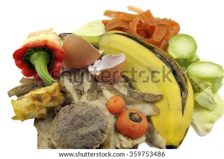 Composting materials, fruit and vegetable kitchen food waste. - stock photo