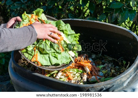 Composting the Kitchen Waste - stock photo