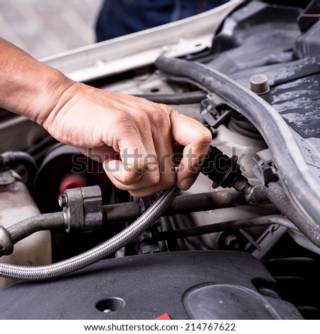 Compressed air car components to be repaired,filling automotive air conditioners - stock photo