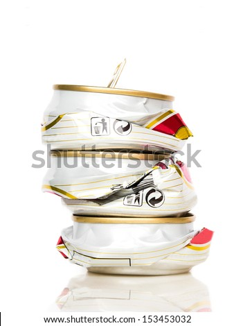 compressed aluminum beer can for recycle on white background - stock photo