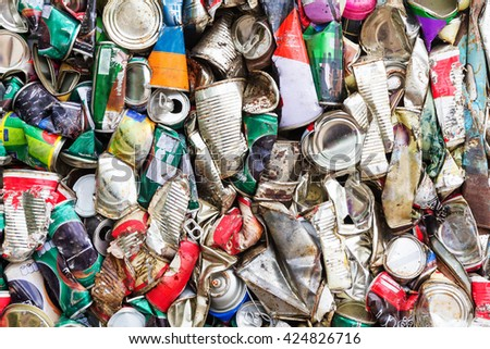 Compressed aluminum can for recycle - stock photo