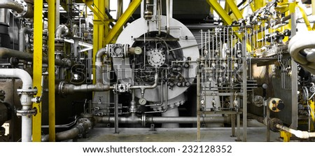 Compressor at an offshore platform - stock photo