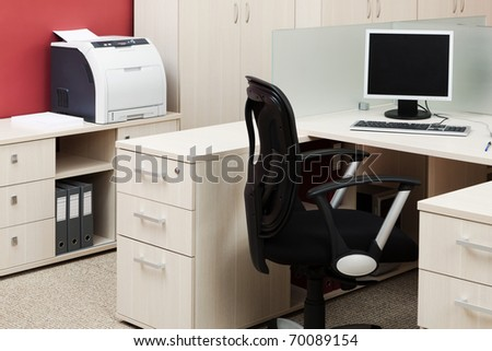 computer and printer in a modern office - stock photo