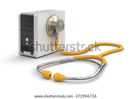 Computer and stethoscope (clipping path included) - stock photo