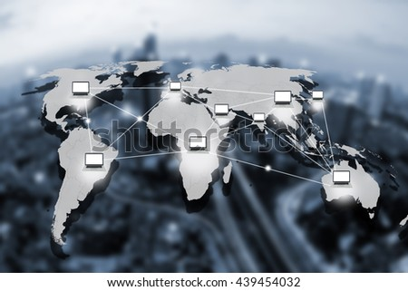 computer and technology connection concept,world connection concept - stock photo