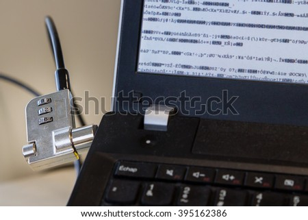 Computer anti-theft, Encrypted, security - stock photo