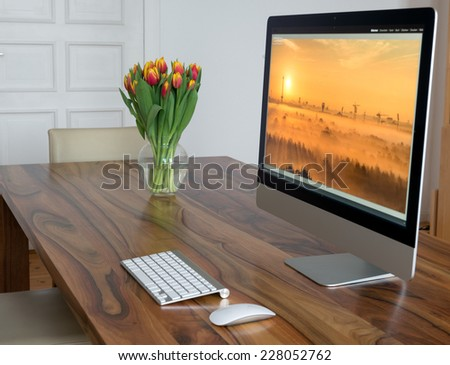 Computer at home - stock photo