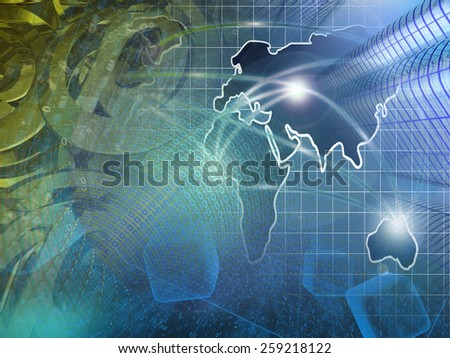 Computer background with buildings, map and digits. - stock photo